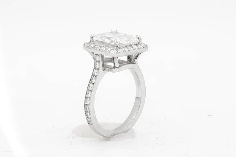 GIA Certified 4.18 Carat G-VS2 Radiant Diamond Ring For Sale 1