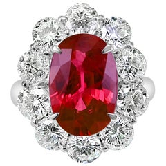 GIA Certified 4.18 Carat Ruby and 2.41 Carat Diamond Wedding Ring