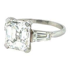 GIA Certified 4.19 Carat Emerald Cut Diamond Ring in Platinum 950