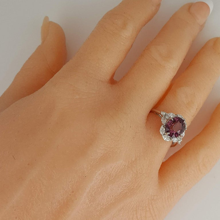 GIA Certified 4.19 Carat Oval Cut Exotic Pink-Purple Garnet and Diamond Ring For Sale 2