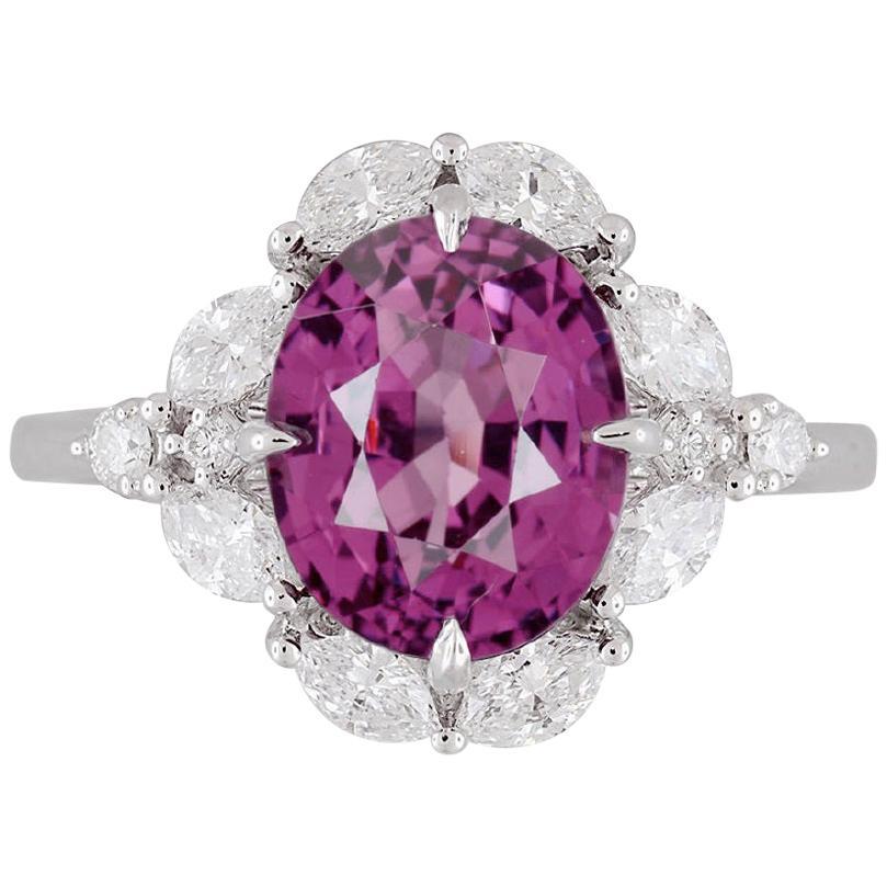 DiamondTown GIA Certified 4.19 Carat Oval Cut Exotic Pink-Purple Garnet Ring