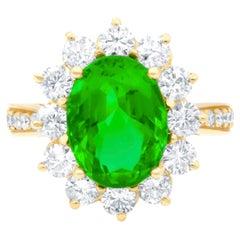 GIA Certified 4.20 Carat Green Emerald and Diamond Ring
