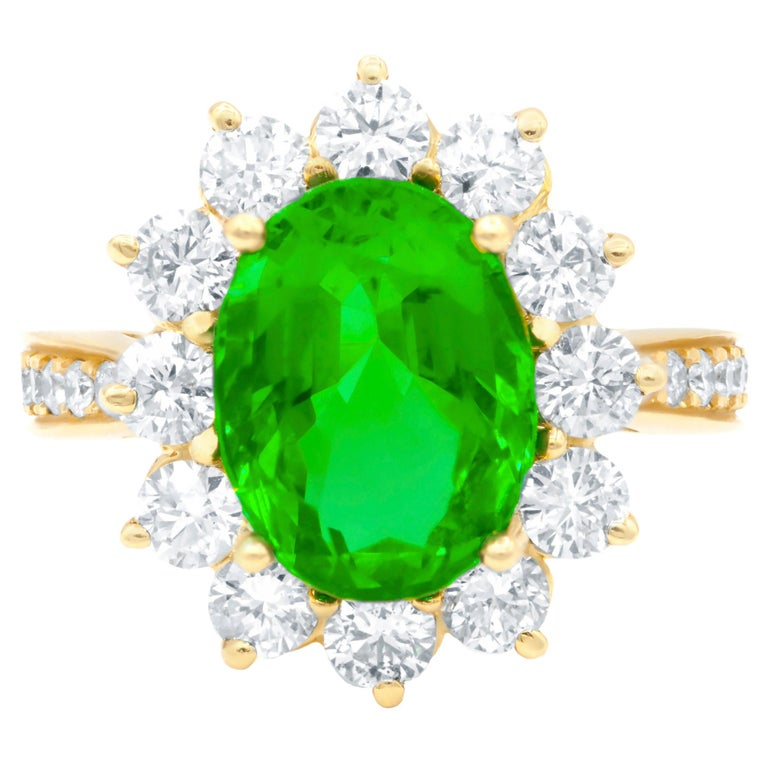 GIA Certified 4.20 Carat Green Emerald and Diamond Ring For Sale