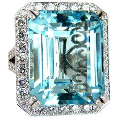 "GIA Certified 42.01ct Natural ""Blue"" Aquamarine diamonds ring Vivid 18kt Freedom"