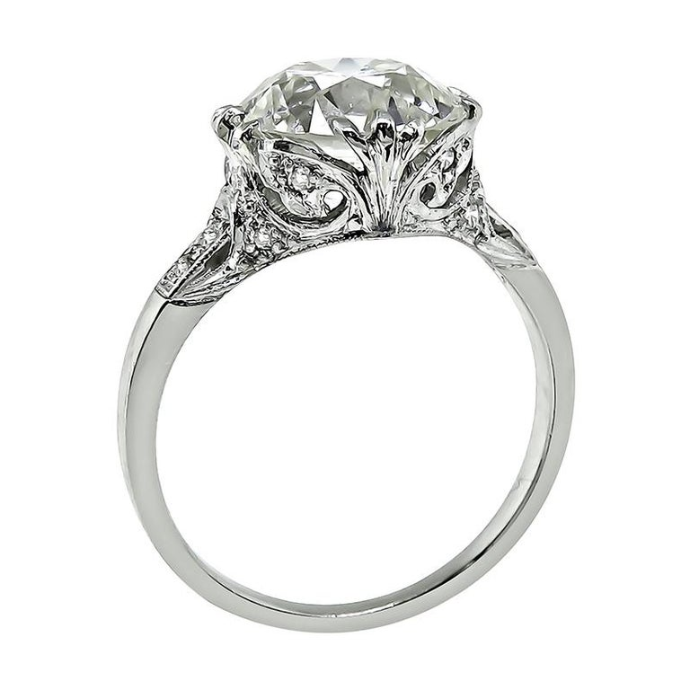 Old Mine Cut GIA Certified 4.20 Carat Diamond Engagement Ring