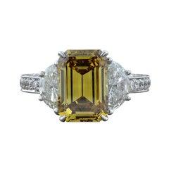GIA Certified 4.21 Carat Fancy Yellow Emerald Cut Diamond Gold Ring