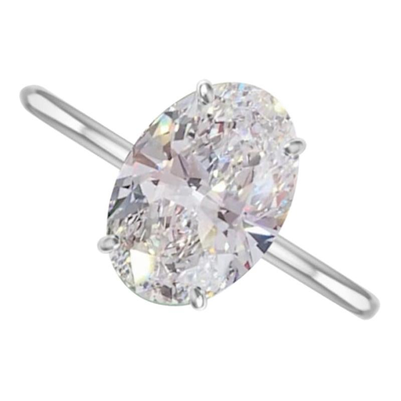 FLAWLESS GIA Certified 2 Carat Oval Brilliant Cut Diamond Ring