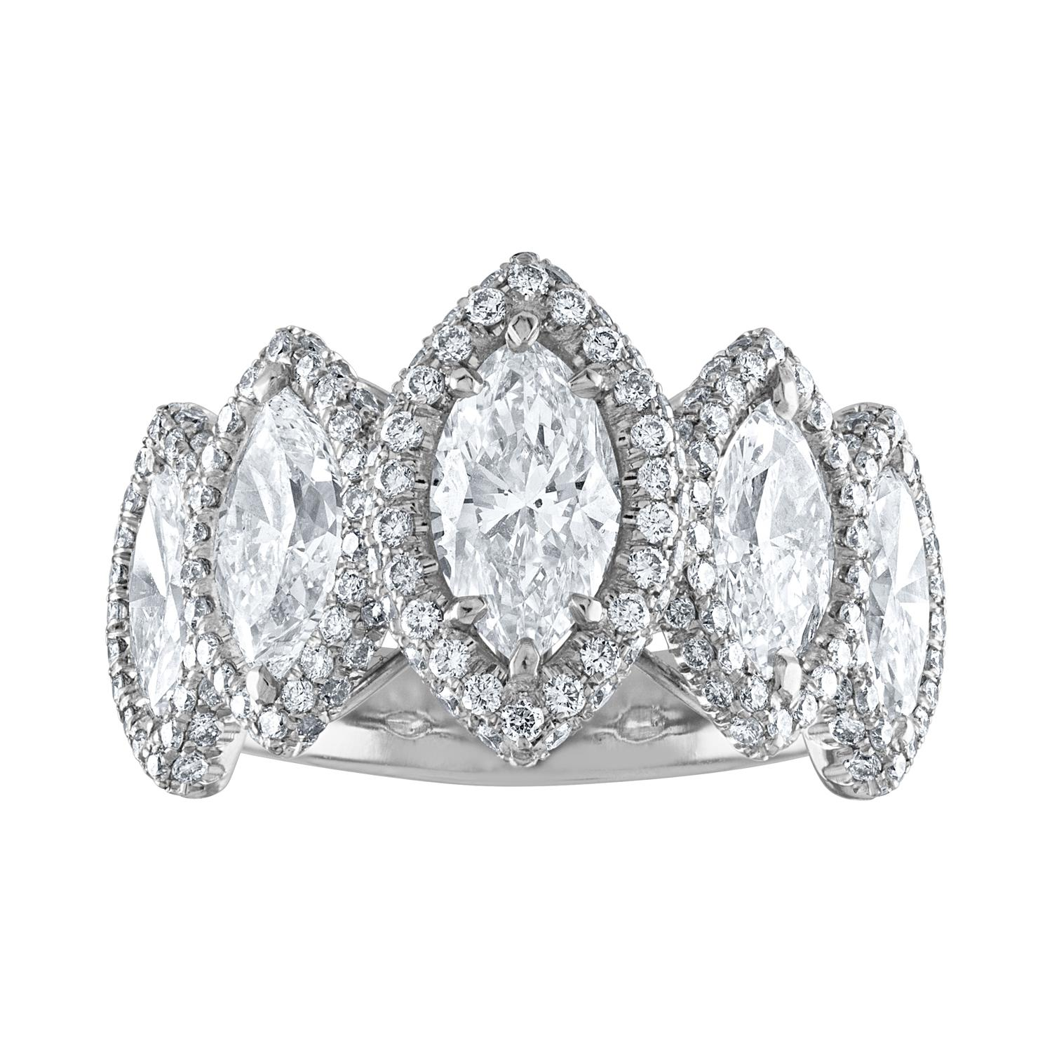 GIA Certified 4.23 Carat Five-Stone Marquise Cut Diamond Platinum Ring