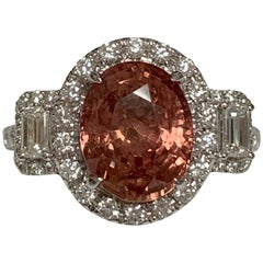 GIA Certified 4.23 Carat Padparadscha Sapphire Ring