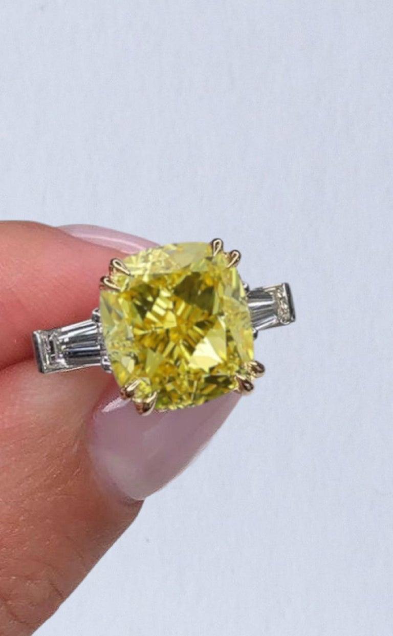 Cushion Cut GIA Certified 4 Carat Fancy Intense Yellow Cushion Diamond Platinum Ring For Sale
