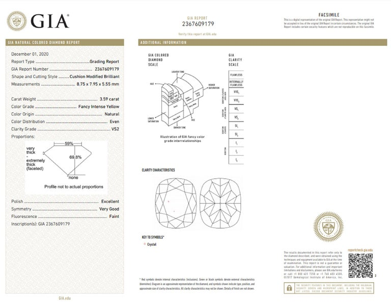 GIA Certified 4 Carat Fancy Intense Yellow Cushion Diamond Platinum Ring In New Condition For Sale In Rome, IT