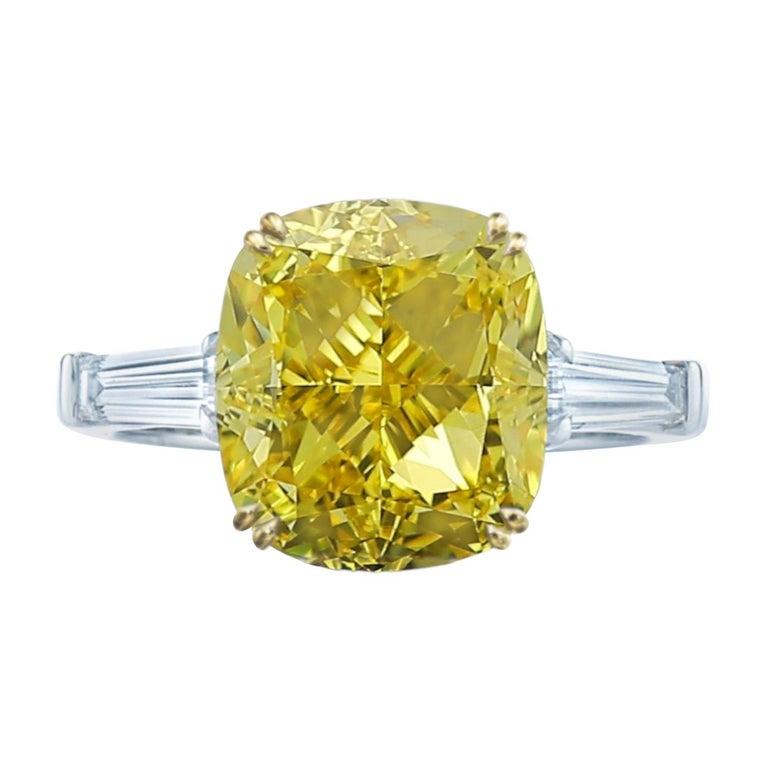 GIA Certified 4 Carat Fancy Intense Yellow Cushion Diamond Platinum Ring For Sale