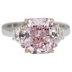 GIA Certified 4.24 Carat Fancy Purplish Pink Internally Flawless Diamond Ring
