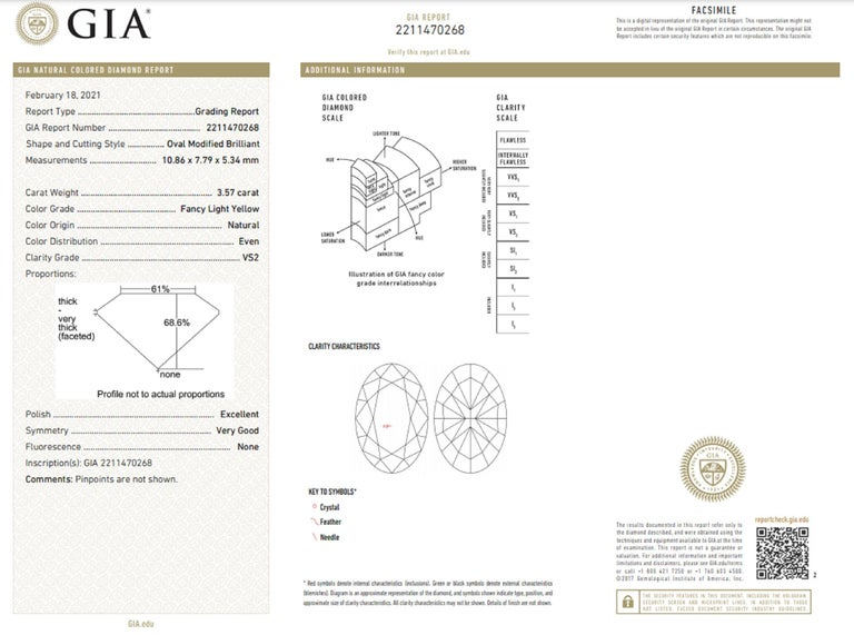 Oval Cut GIA Certified 4.27 Carat Fancy Yellow Oval and Half-Moon Diamond Ring For Sale