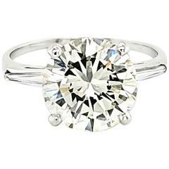 GIA Certified 4.27 Carat Round Diamond Three-Stone Ring