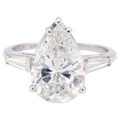 GIA Certified 4.29 Carat Pear Brilliant Platinum Diamond Engagement Ring