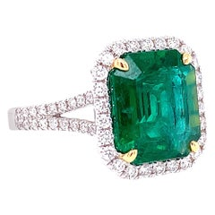 GIA Certified 4.30 Carat African Emerald and Diamond Ring