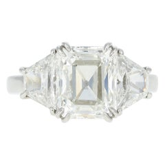 GIA Certified 4.30 Carat Emerald Cut Diamond Platinum Engagement Ring