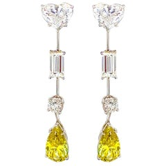 GIA Certified 4.30 Carat Pear and Heart Shape Diamond Drop Earrings