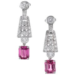 GIA Certified 4.30 Carat Pink Sapphire Diamond Platinum Dangle Drop Earrings