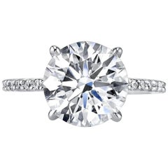GIA Certified 4.50 Carat Round Brilliant Cut Engagement Solitaire Ring H VVS1