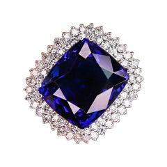 GIA Certified 43.23 Ctw Tanzanite and Diamond White Gold Ring