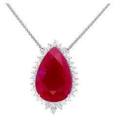 GRS Certified 43.29 Carat Pear Shaped Ruby Diamond Halo Necklace 18K White Gold