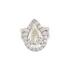 GIA Certified 4.33ct Pear Diamond with Diamond Halo Ring 18 Karat White Gold