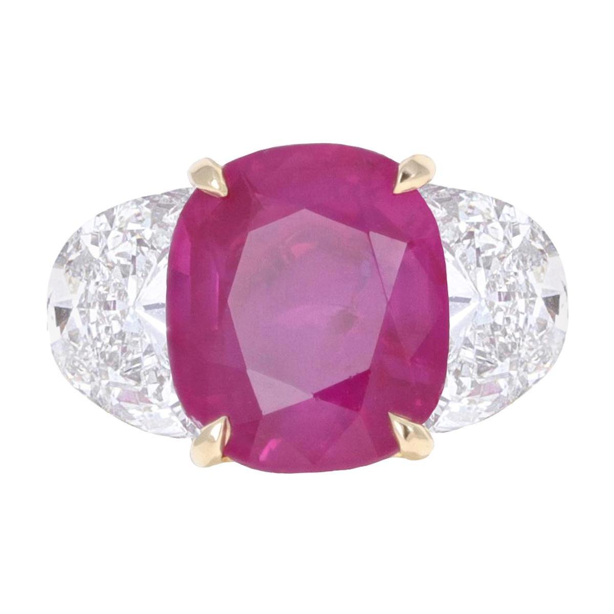 GIA Certified, 4.38 Carat Burma No Heat Ruby Three-Stone Ring