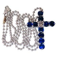 GIA Certified .43 Carat Diamond & 4.75 Carat Sapphires Cross Necklace 14kt Gold