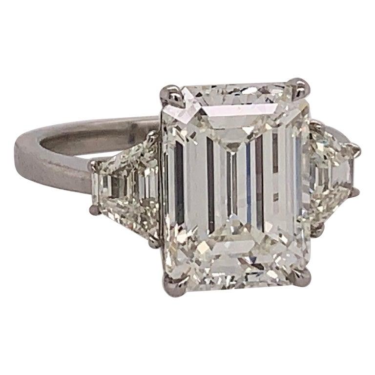 GIA Certified 4.40 Carat Emerald Cut J VS2 Natural Diamond Platinum Ring For Sale