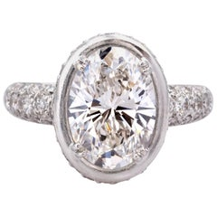 GIA Certified 4.40 Carat G VVS2 Oval Diamond and White Gold Ring