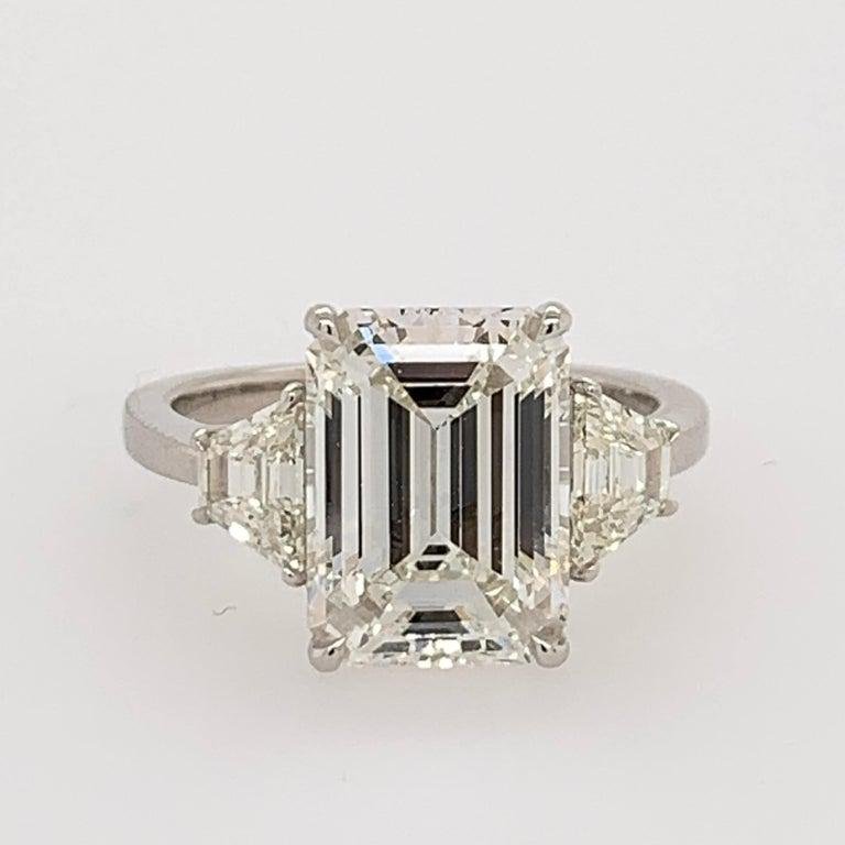GIA Certified 4.40 Carat Emerald Cut J VS2 Natural Diamond Platinum Ring For Sale 5