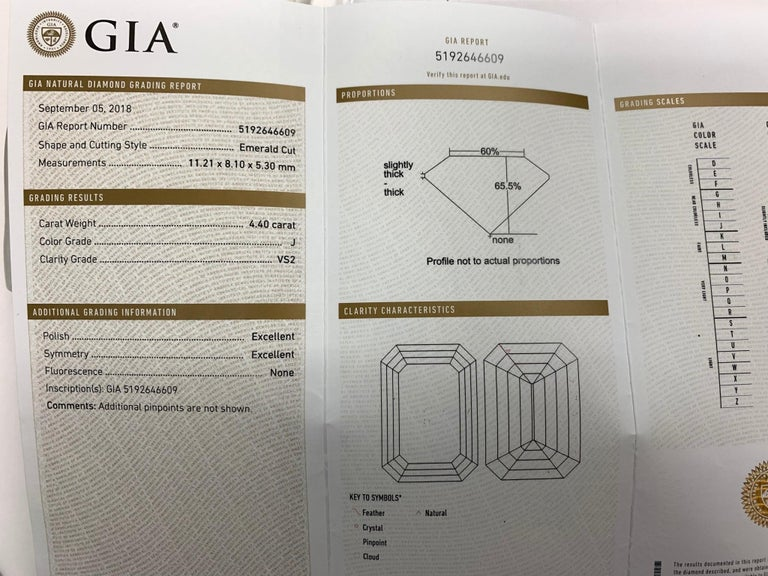 GIA Certified 4.40 Carat Emerald Cut J VS2 Natural Diamond Platinum Ring In Excellent Condition For Sale In Los Angeles, CA