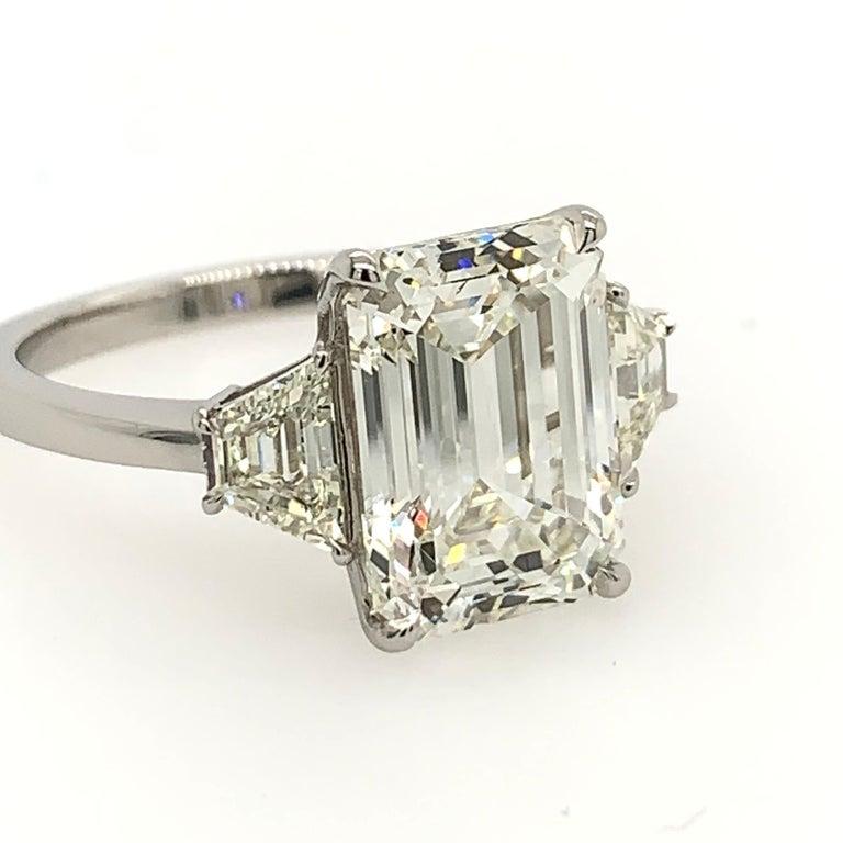 GIA Certified 4.40 Carat Emerald Cut J VS2 Natural Diamond Platinum Ring For Sale 1
