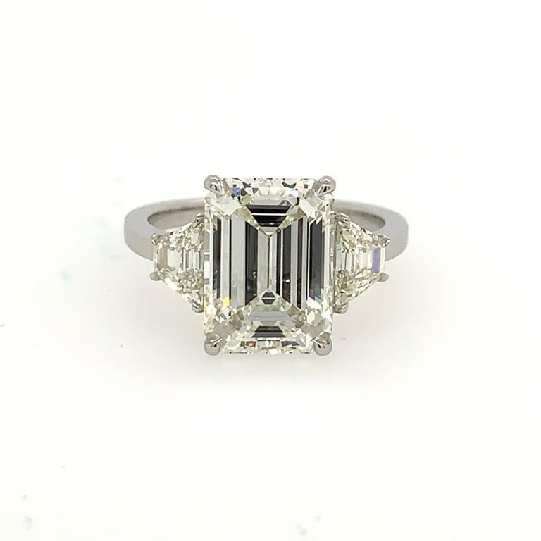 GIA Certified 4.40 Carat Emerald Cut J VS2 Natural Diamond Platinum Ring For Sale 4