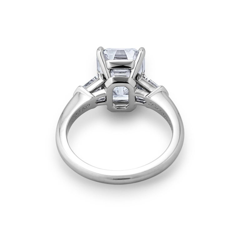 GIA Certified 4.42 Carat Emerald Cut Diamond Platinum Engagement Ring In New Condition For Sale In Greenwich, CT