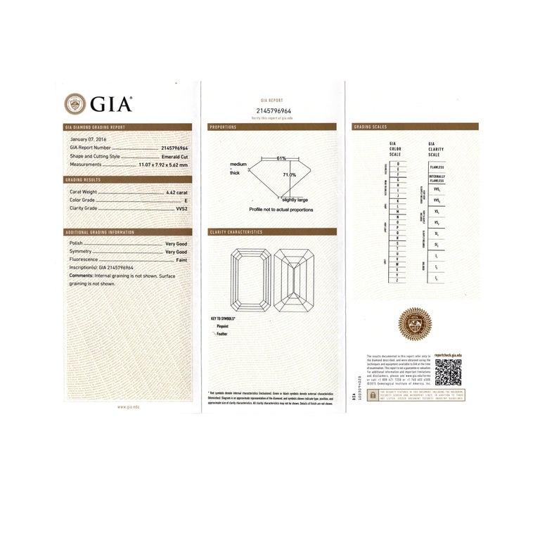 Women's GIA Certified 4.42 Carat Emerald Cut Diamond Platinum Engagement Ring For Sale