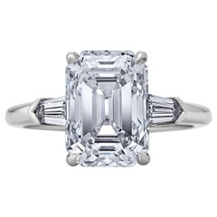 GIA Certified 4.42 Carat Emerald Cut Diamond Platinum Engagement Ring