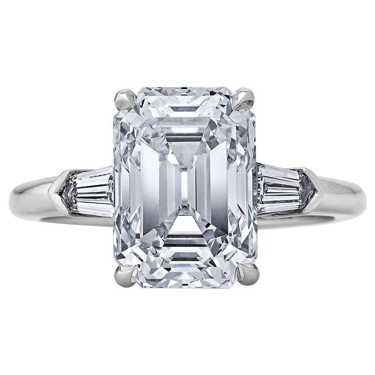GIA Certified 4.42 Carat Emerald Cut Diamond Platinum Engagement Ring For Sale