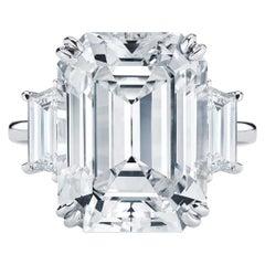 GIA Certified  6.10 Carat Emerald Cut Trapezoid Three Stone Platinum Ring