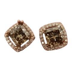 GIA Certified 4.44 Carat Square Fancy Yellow Brown Diamond Earrings