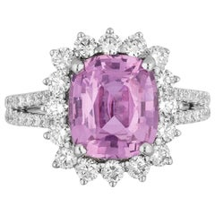GIA Certified 4.45 Carat Pink Sapphire Diamond Cocktail Ring