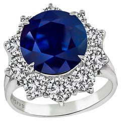 GIA Certified 4.45 Carat Sapphire Diamond Engagement Ring