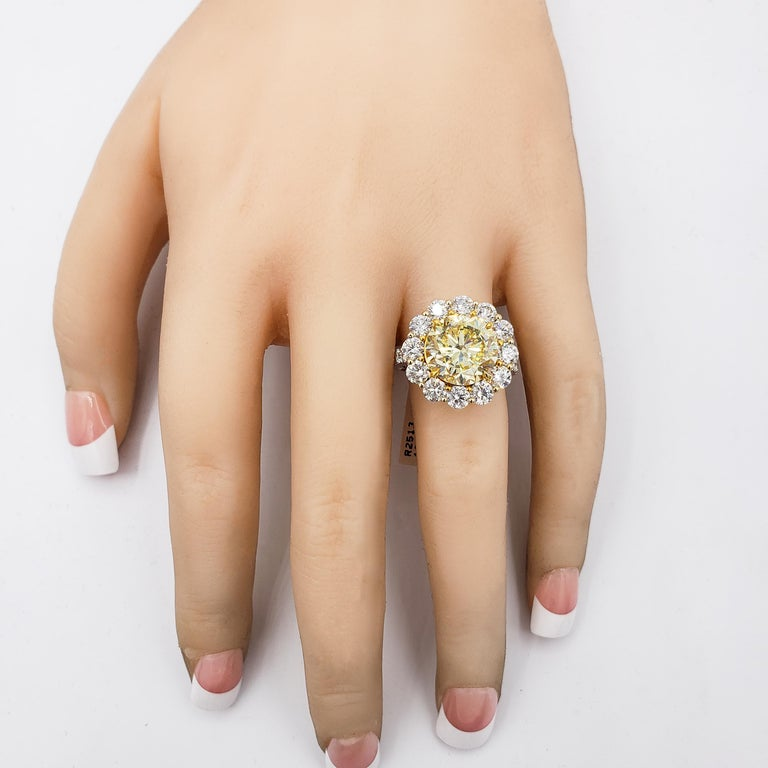 GIA Certified 4.47 Carat Fancy Intense Yellow Diamond Ring For Sale 2