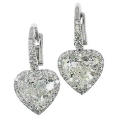 GIA Certified 4.48 Carat Heart Halo Diamond Dangle Earrings