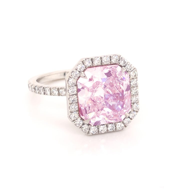 ROC DIAMOND GIA Certified 4.48 Carat Pink Diamond Ring In New Condition For Sale In MIAMI, FL