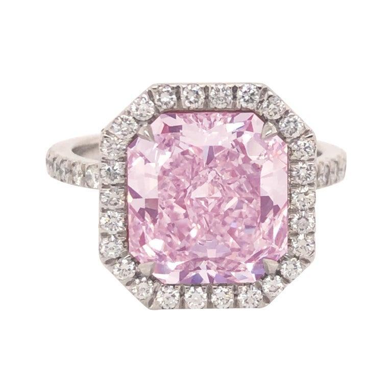 ROC DIAMOND GIA Certified 4.48 Carat Pink Diamond Ring For Sale