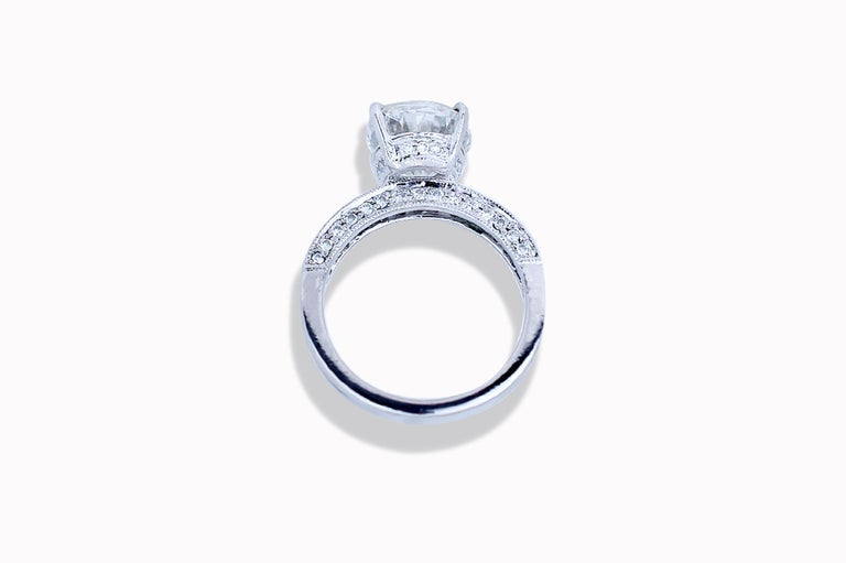 Oval Cut GIA Certified 4.5 Carat Oval H-VS2 Diamond Engagement Ring For Sale