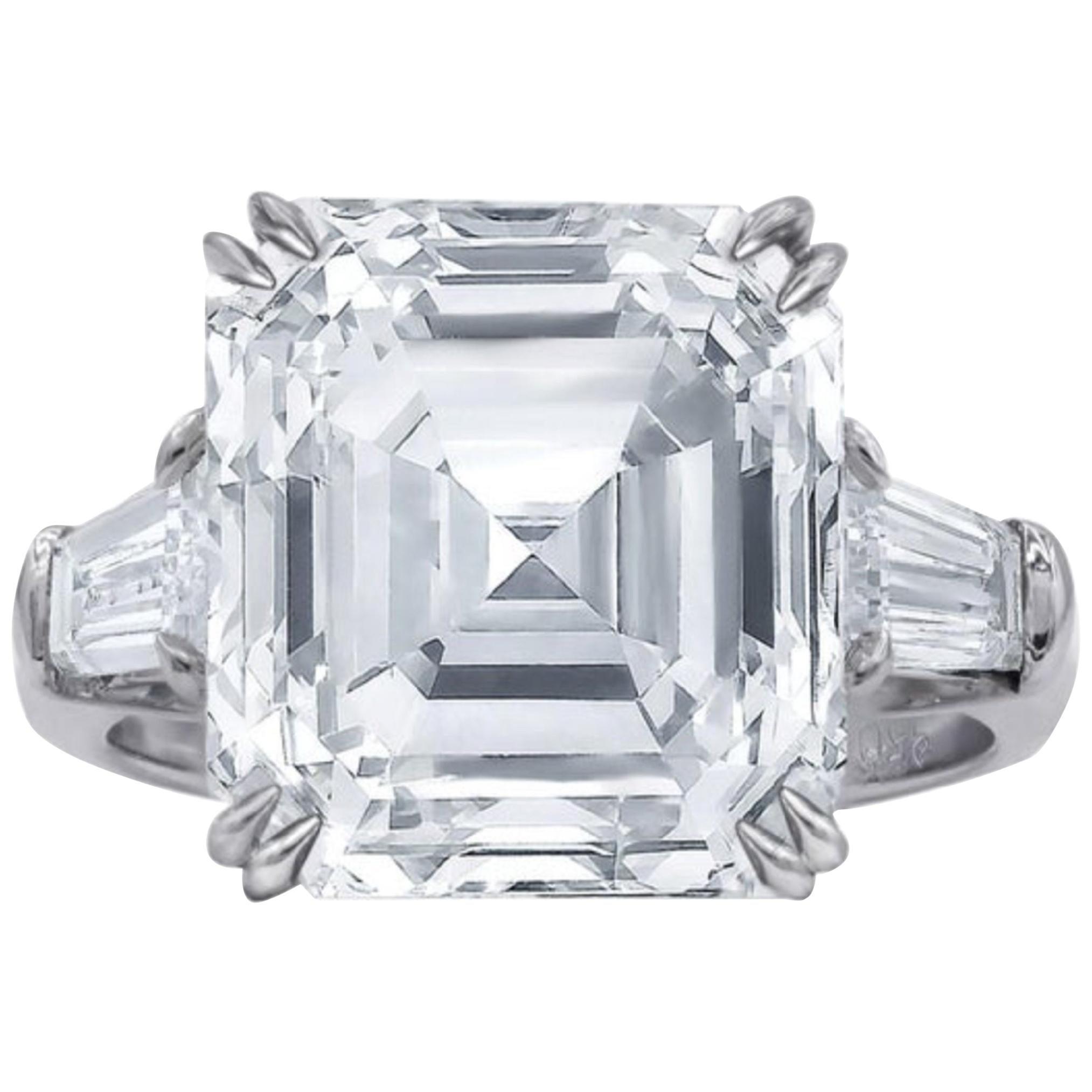 GIA Certified 3.65 Carat Asscher Cut Diamond Platinum Ring
